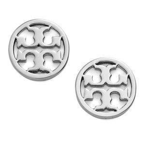 Tory Burch silver circle logo earrings
